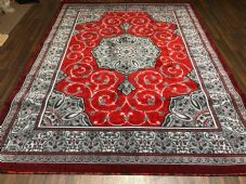 Modern Rugs Approx 9x7ft 270x220cm Woven Thick Sale Top Quality Grey/Red New